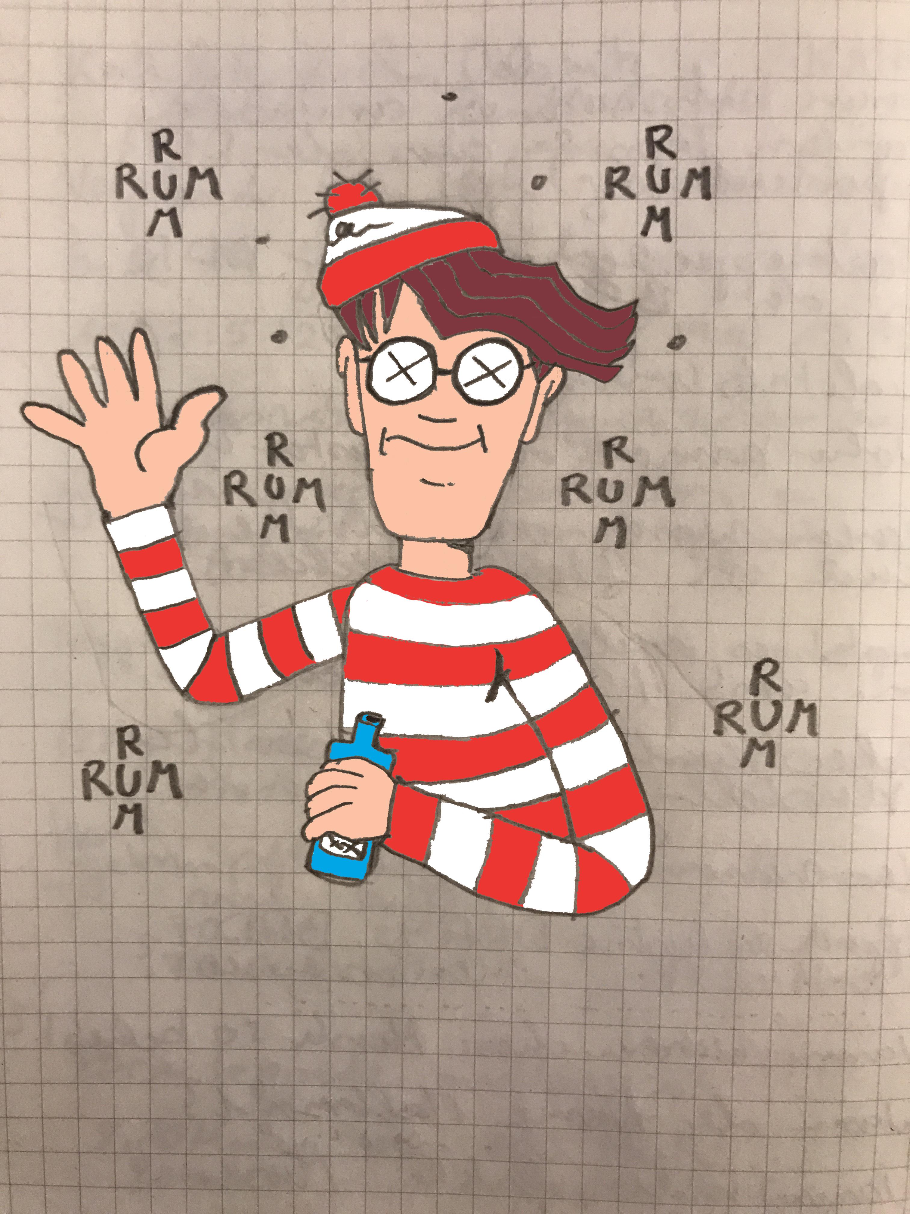 Waldo, betrunken